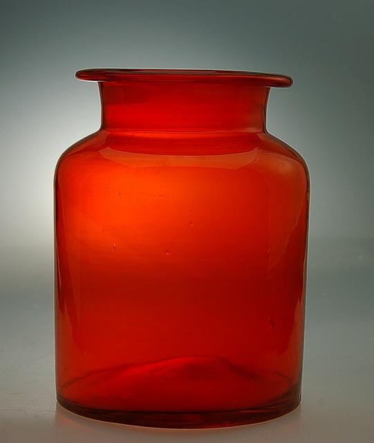 Blenko red glass jar