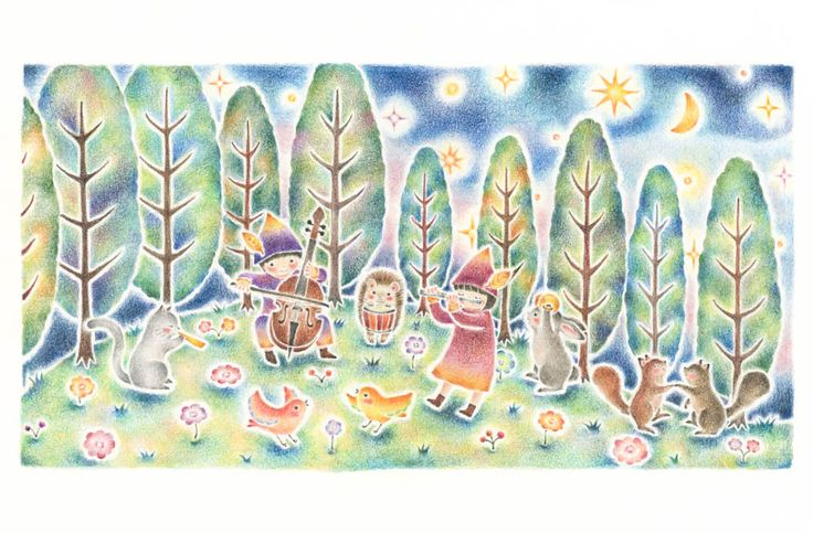 """Concert at Night Forest"" −Atelier RiLi, picture book, illustration, design ___ ""夜の森の音楽会"" −リリ, 絵本, イラスト, デザイン ...... #illustration #forest #music #イラスト #森 #音楽"
