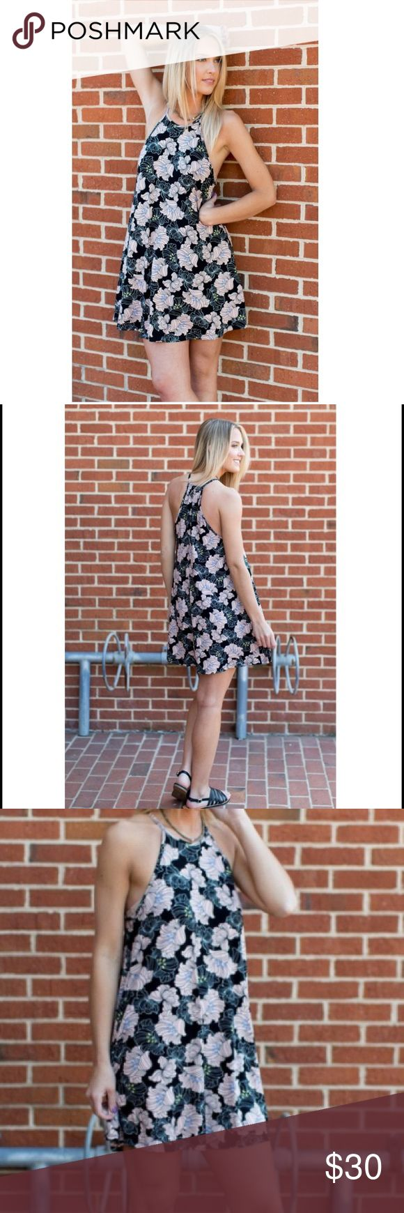 """🍑NWT PEACHY CREEK🍑LILLIAN TRES BIEN DRESS🍑 Channel your inner flower child in this elegant floral patterned dress perfect for warm weather.  Lightweight material Racerback style 95% rayon; 5% Spandex Hand wash cold measurements are free and flowy bust 19"""" waist 21 1/2"""" and length 33 1/2"""" Dresses Midi"""