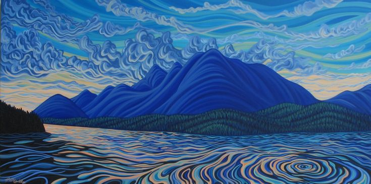 """Lake Koocanusa, 36""""X60, original painting, Canadian Artist, ready to hang, gallery canvas by patrickmarkle on Etsy"""