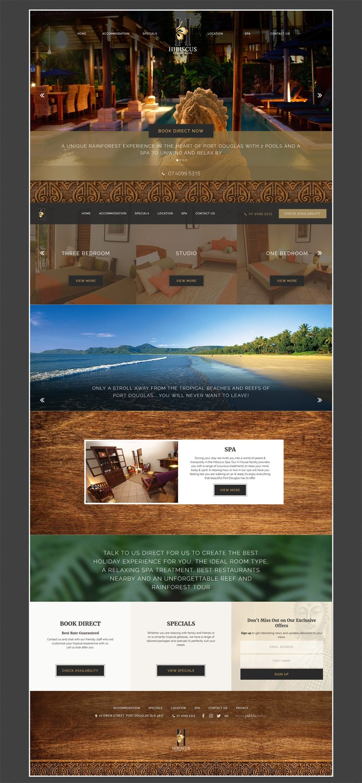 "Have a look at our new website for Hibiscus Resort & Spa, Port Douglas. ""Enjoy a touch of Bali with all the comforts we enjoy in Australia"" See more - http://pebbledesign.com/our-work Site - http://www.hibiscusresortandspa.com.au/"