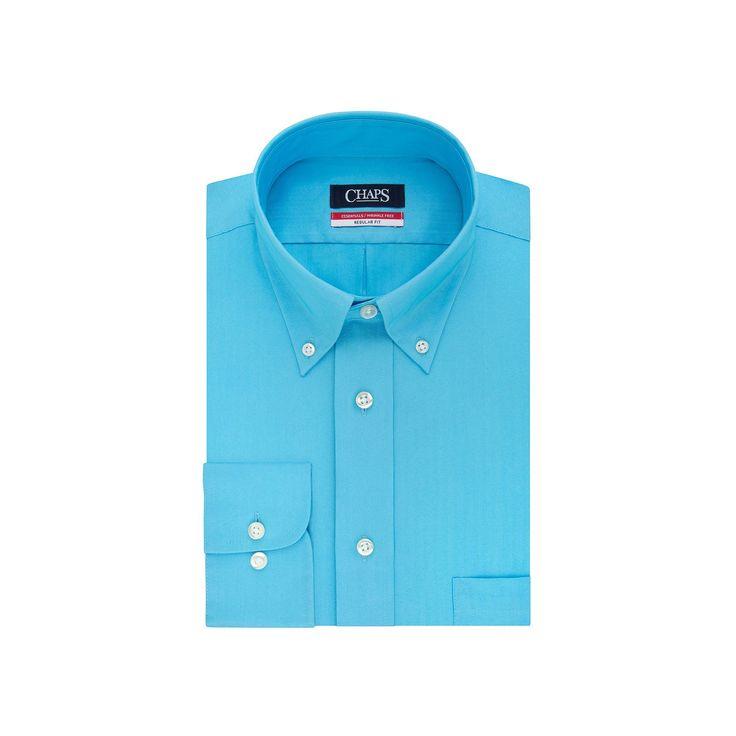 Men's Chaps Regular-Fit Wrinkle-Free Herringbone Dress Shirt, Size: 2X-36/37, Turquoise/Blue (Turq/Aqua)