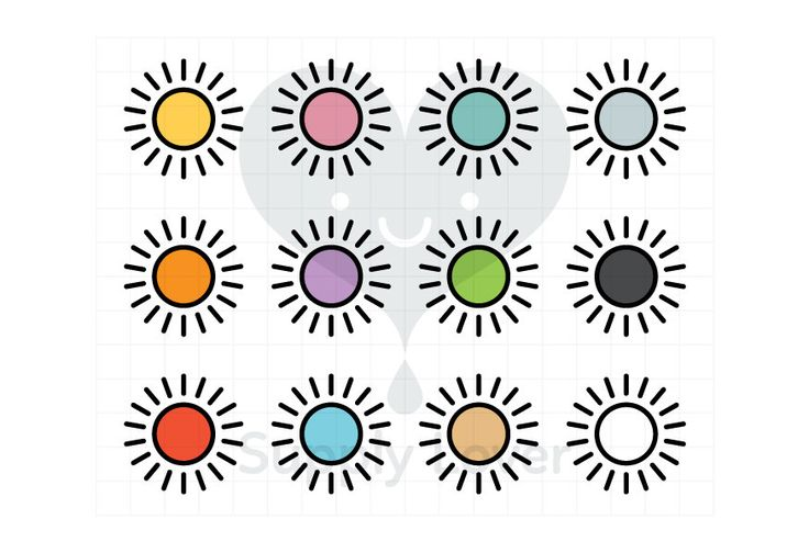 SUN Clip-Art Commercial Use, Sunshine, Outline, Weather, Icon, Symbol, Cartoon, Sunny, Stroke, 12 colors - B0084