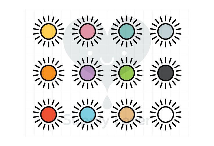 SUN Clip-Art Commercial Use, Sunshine, Outline, Weather, Icon, Symbol, Cartoon, Sunny, Stroke, 12 colors - B0084