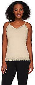 Susan Graver Essentials Stretch Cotton Modal Camisole w/ Lace Detail