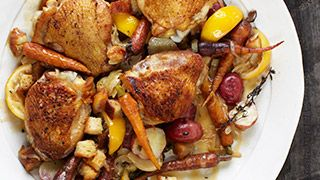 Lemon-Scented Chicken Thighs with Crispy Croutons and Carrots Recipe