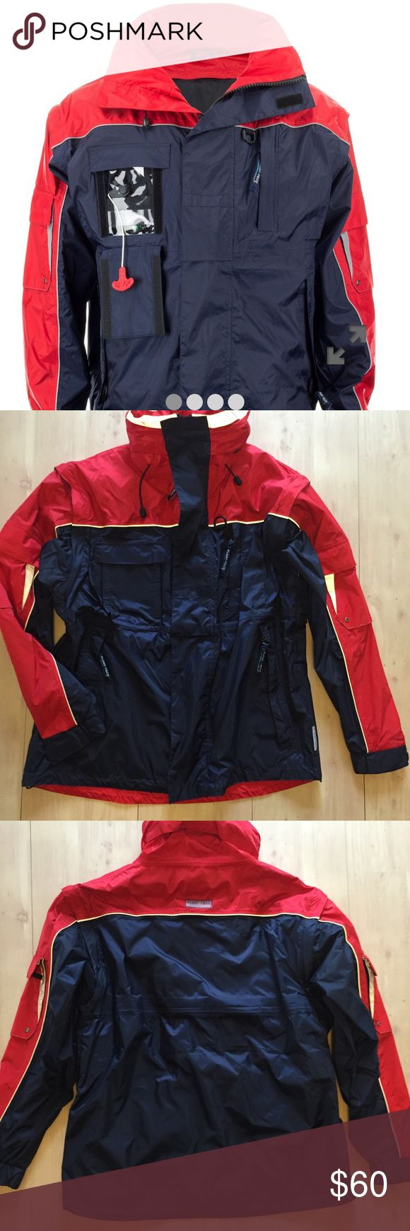 Float Tech Mens Sailing Jacket Sz M waterproof EUC Float Tech Jacket Mens Sz Medium amazing Sailing Yacht jacket . Lots of pockets . Float Vest sold separately online $200 . Could be worn as a jacket or with float vest . Save money but my jacket and the best online ! Or just have a super performance jacket . Great colors EUC no flaws no stains . Float Tech Jackets & Coats Performance Jackets