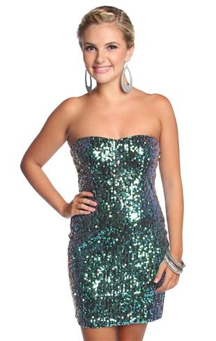 strapless sweetheart two tone sequin homecoming dress