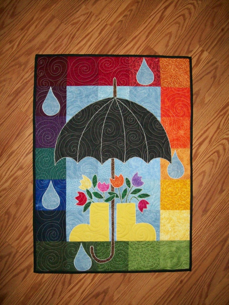 April Showers Quilted Wall Hanging Applique Quilts