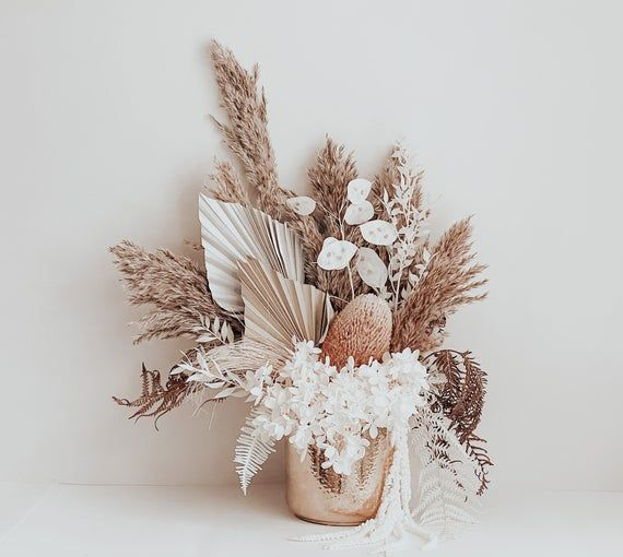 Everlasting Dried And Preserved Floral Arrangement In Gold Pot Dried Flower Arrangements How To Preserve Flowers Dried Flowers