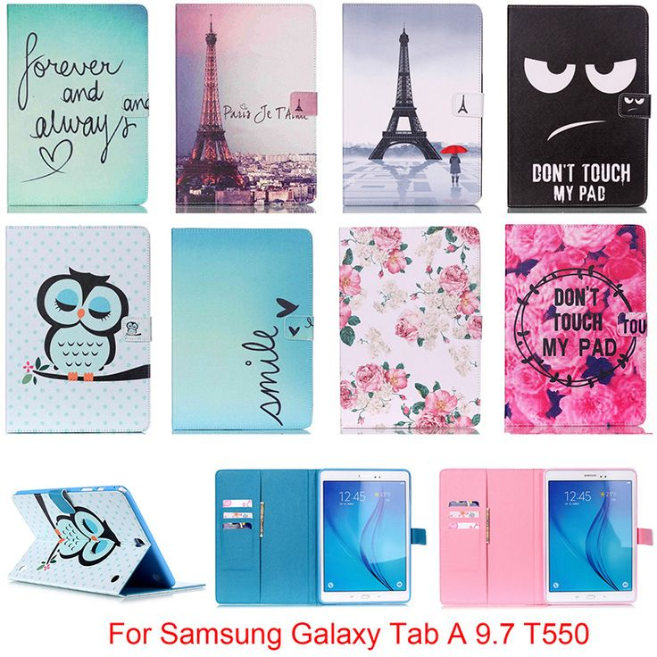 Fashion PU Leather Flip Case For Samsung Galaxy Tab A 9.7 SM-T550 T550 T551 T555 Original Smart Tablet Stand Case With Card Slot