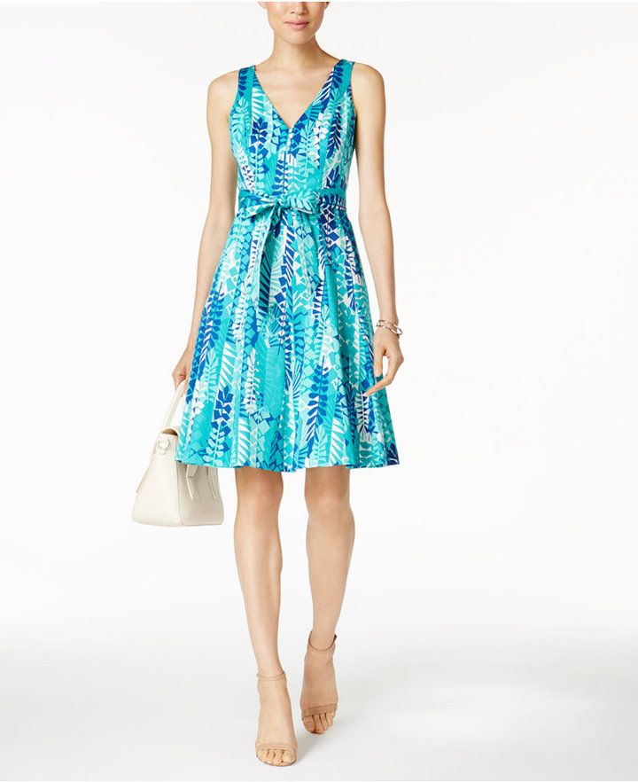 Nine West Printed Belted Sundress  A chic bow sash cinches the waistline of a flared Nine West sundress alive with lush, abstract botanicals.