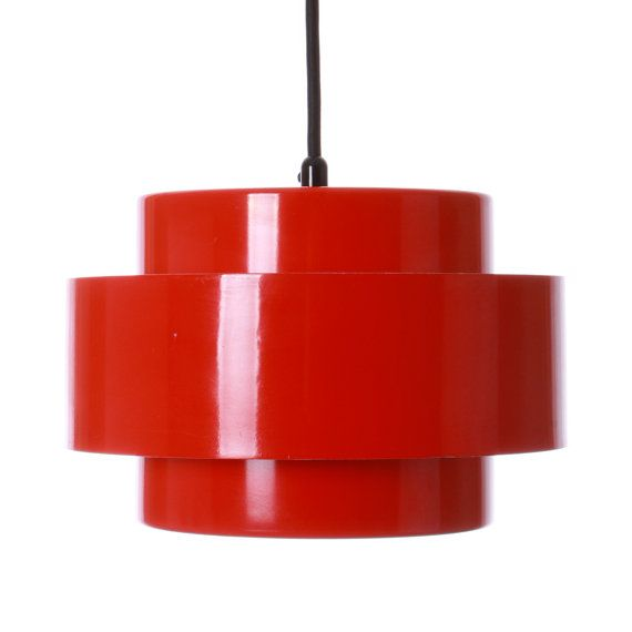 JUNO (RAINBOW LINE) pendant by Jo Hammerborg - 1969 - Fog & Morup. Danish design lighting. Iconic red pendant in good vintage…