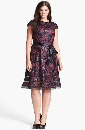 Adrianna Papell Sequin Lace Fit & Flare Dress (Plus Size) available at #Nordstrom