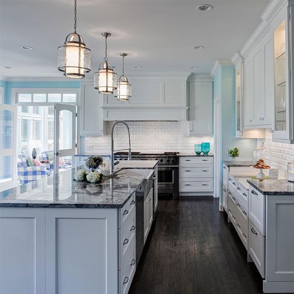 Top 10 Instagram Moments of 2016: An inviting kitchen with nautical accents, courtesy of Drury Design featuring Bay Court pendants