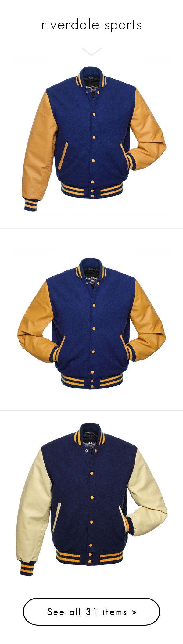 """riverdale sports"" by silly-laura ❤ liked on Polyvore featuring BlueandGold, riverdale, riverdalevixens, outerwear, jackets, leather varsity jackets, gold jacket, varsity letter jackets, royal blue leather jacket and leather jackets"
