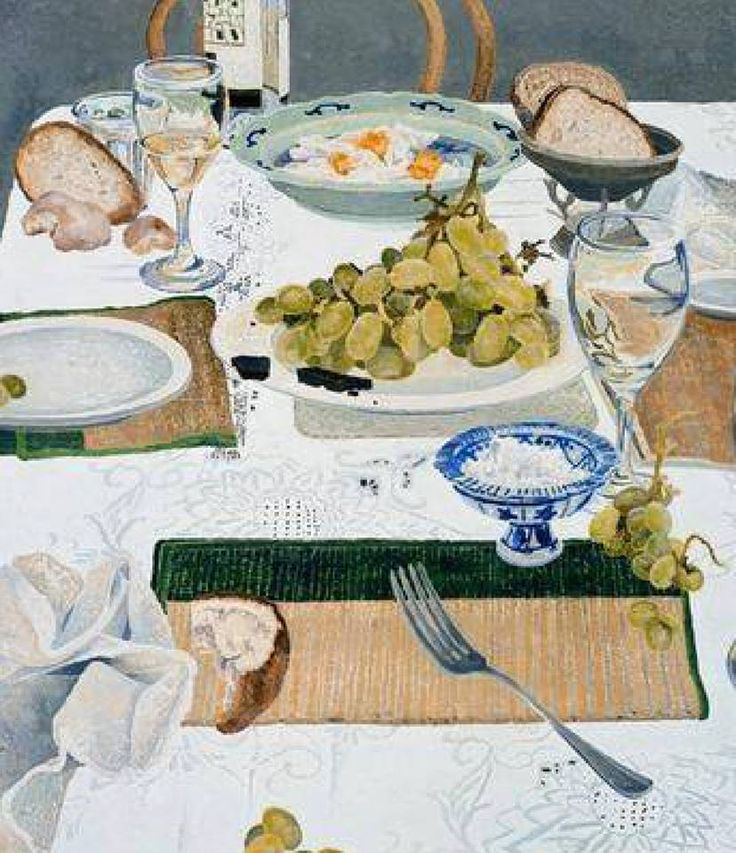 After Lunch  -  Cressida Campbell  2002Australian b.1960-  colour woodblock and watercolour on white Dutch etching paper
