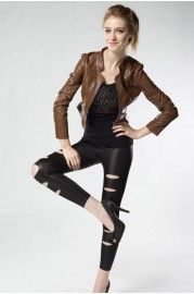 Glossy Cropped Biker Jacket with Slim Standing Collar