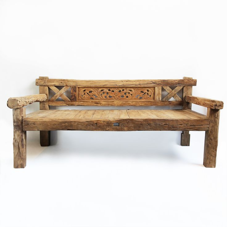 Old Teak Wood Balinese Daybed Carved Detail Across The