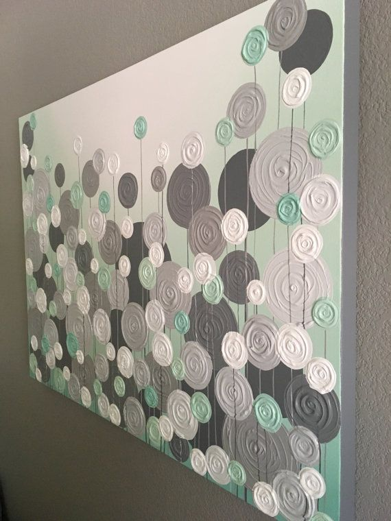 Mint Green and Gray Modern Circle Painting, Abstract Flowers, Large Acrylic Painting on Canvas, select a size