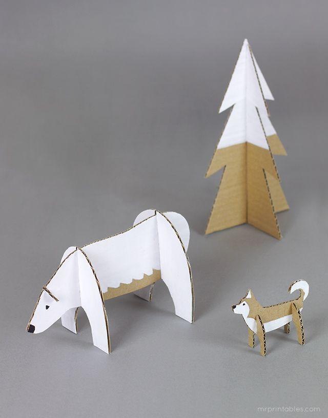 Peg dolls Winter Wonderland - cardboard animal templates
