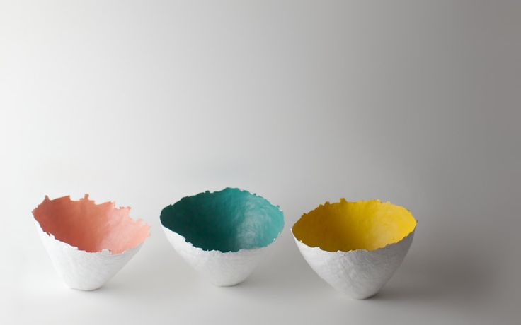 color burst paper bowls by up in the air somewhere | Could do easy. Papier mache over an inflated balloon, dry, paint then seal w/ mod podge or another varnish. Ooo. Mid-week craft ahoy.