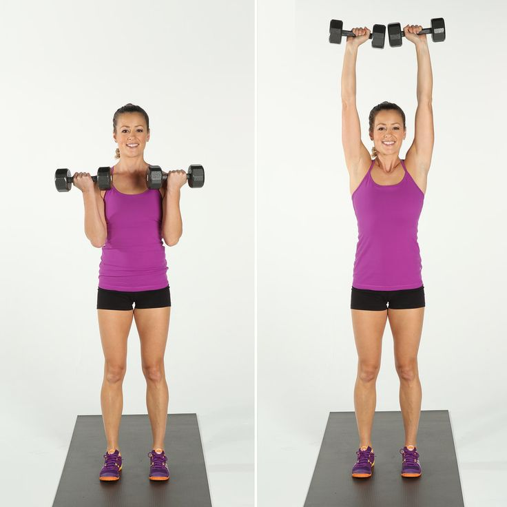 Bicep Curl and Overhead Press works both the biceps and shoulders.