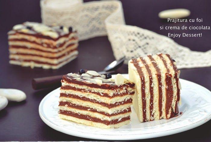 Enjoy Dessert!: Prajitura cu foi si crema de ciocolata