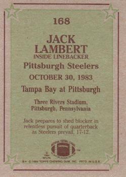 1984 Topps #168 Jack Lambert Back
