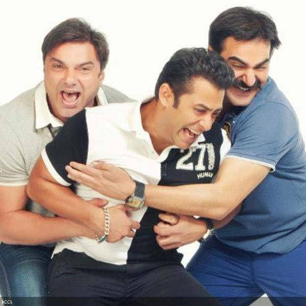 Salman Khan with his brothers Sohail and Arbaaz khan in a Being Human ad poster.
