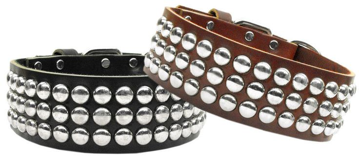 """""""The Tokyo"""" is a Flat Nail Head Studded Genuine Leather Dog Collar. These are safe, yet have a masculine look to them. Perfect for Bull Dogs, Pit Bulls, Dobermans, etc. Two colors are Burgundy and Black. 