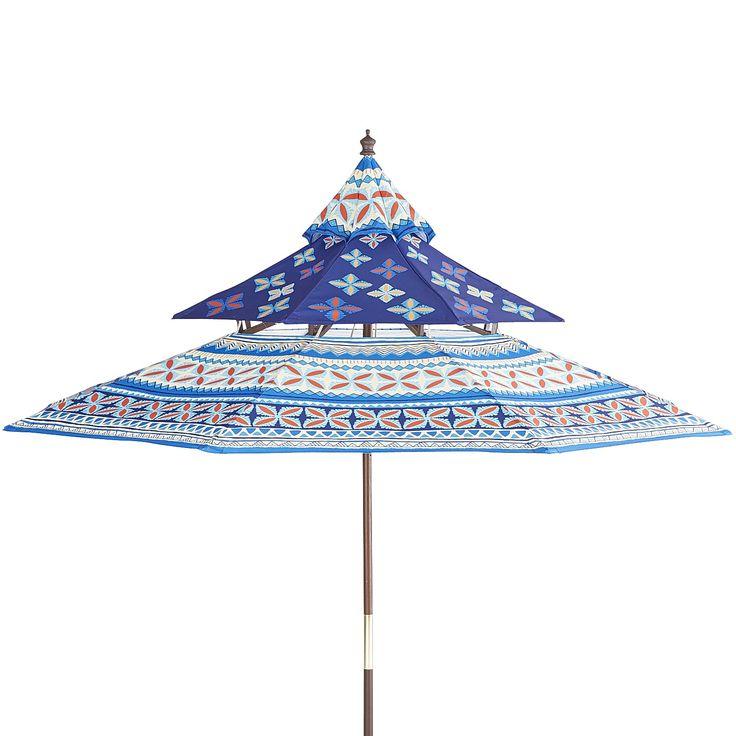 Pagoda Umbrella   Blue Aztec   Eucalyptus   Outdoor
