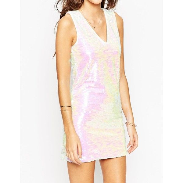 ASOS PETITE Sequin Shift Dress (3765 RSD) ❤ liked on Polyvore featuring dresses, pink v neck dress, pink dress, v neck dress, v-neck sequin dresses and hologram dresses