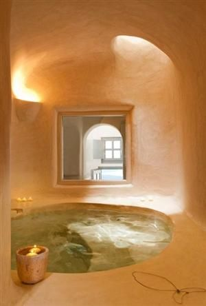 Cob bathroom. This would be so awesome! Almost like bathing in a little cave. So earthy and peaceful!