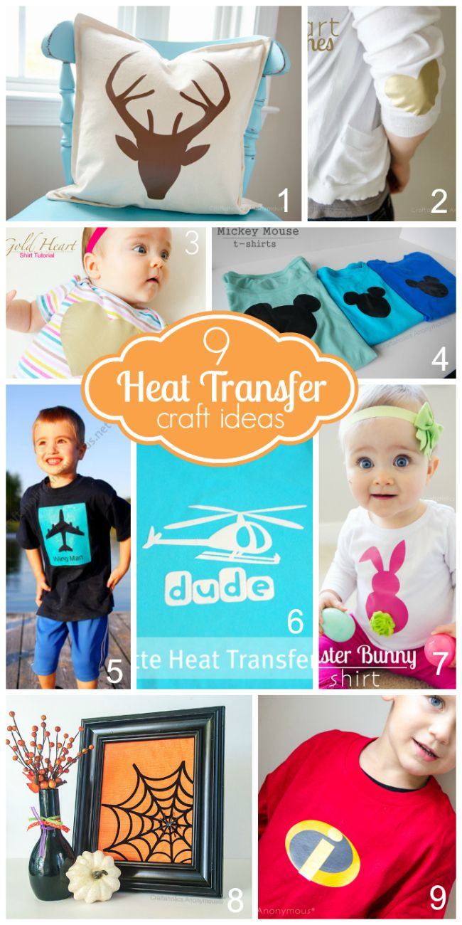 9 Heat Transfer Ideas + Silhouette CAMEO Giveaway! Click here to enter: http://www.craftaholicsanonymous.net/9-heat-transfer-ideas-silhouette-discount