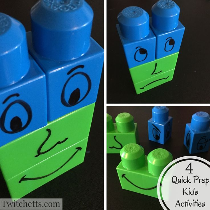 Here are 4 quick prep kids activities. With limited supplies you can get these together in no time!  Get new life from your mega blocks.  Simple faces to mix and match.