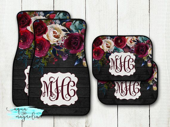 Personalized Car Mats Navy Burgundy Floral Rustic Chic
