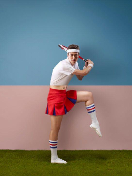 Man in tennis skirt