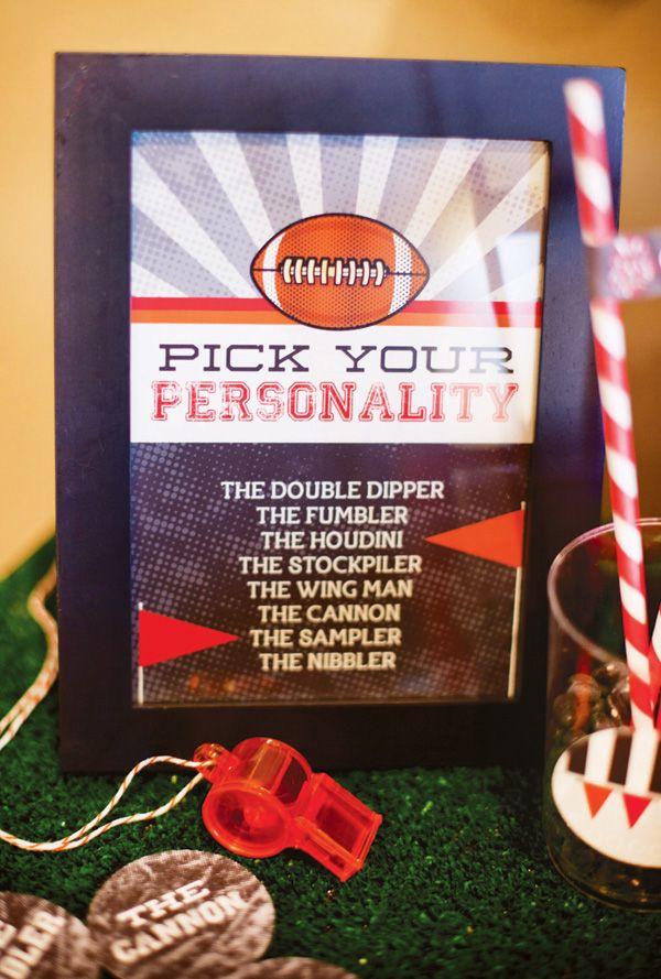 Fun Super Bowl party idea: Pick Your Personality