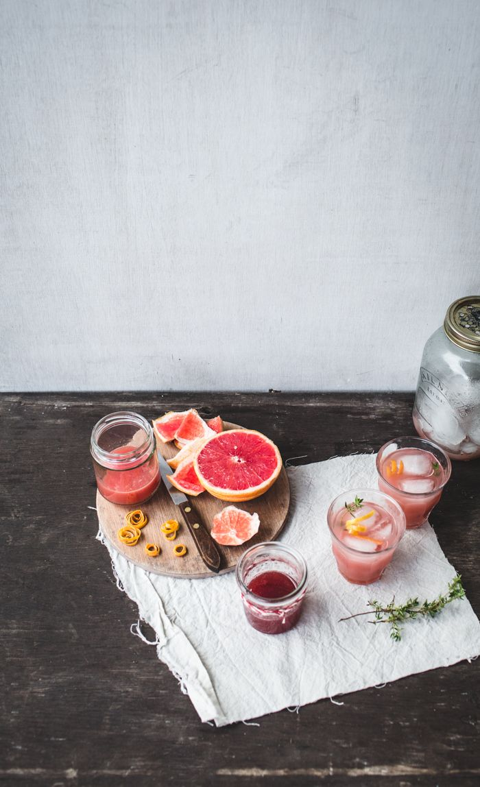 Rhubarb, Grapefruit and Thyme Cocktails from Izy Hossack / Top With Cinnamon