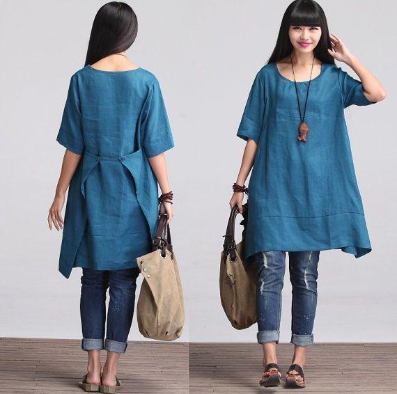 Maxi Dress - Summer Dress in Blue-  Sundress for Women-Short Sleeved (R)