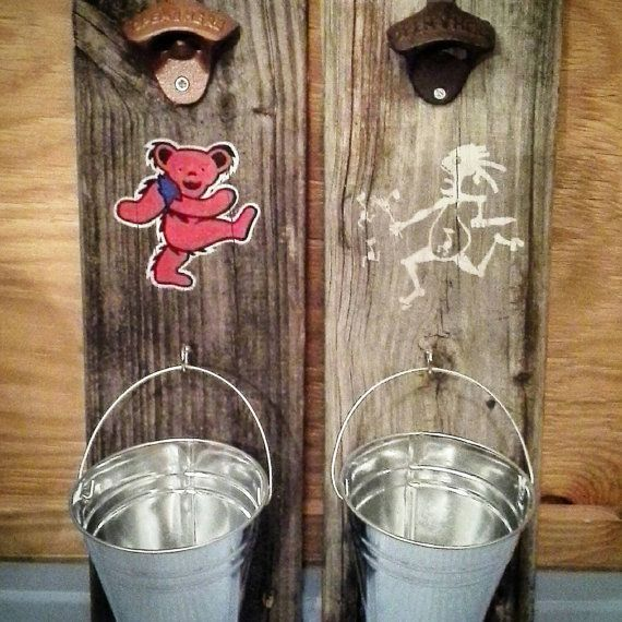 Grateful Dead Dancing Bear or Widespread Panic Note Eater Upcycled Wood Wallhanging Bottle Opener by ScarletBGonias on Etsy