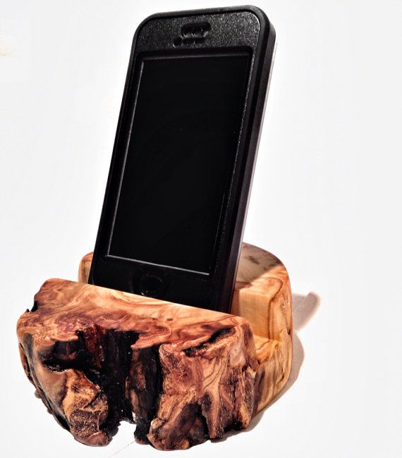 iPhone Docking station  iphone Stand Rustic Log Smart Phone Stand Wooden Phone Holder on Etsy, $22.00