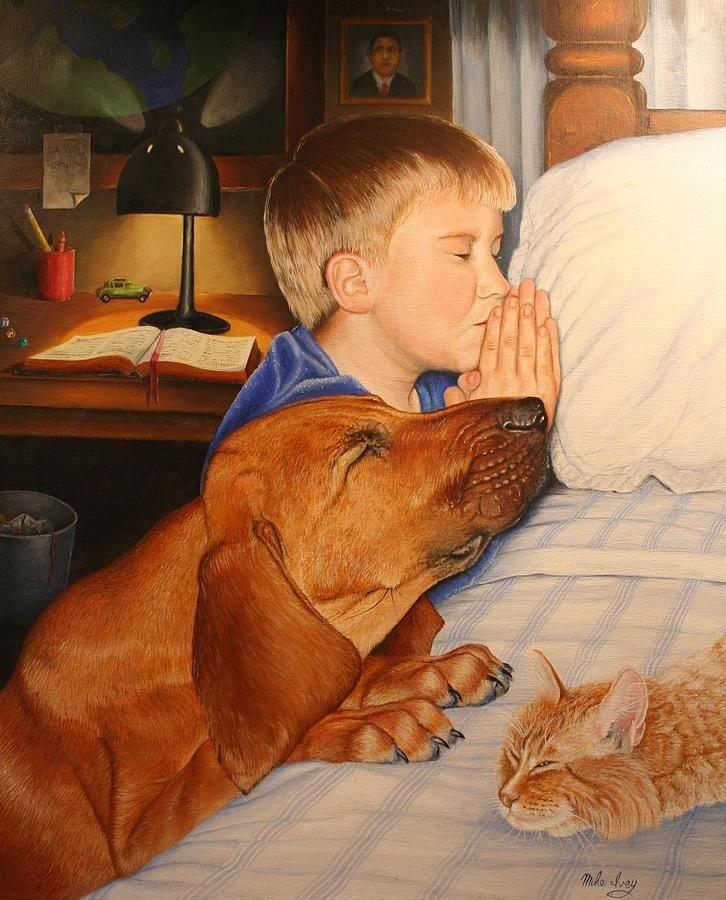Dog Prays Before Bed