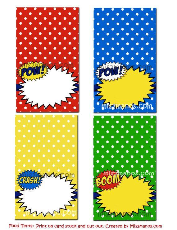 super hero food tent printable diy set of 4 blank superhero food cards party instant download