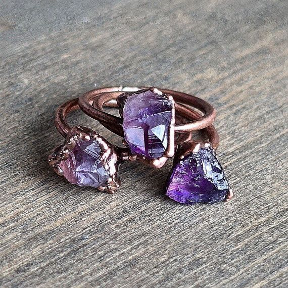 Raw amethyst ring Raw crystal ring by HeartHouseStudio on Etsy