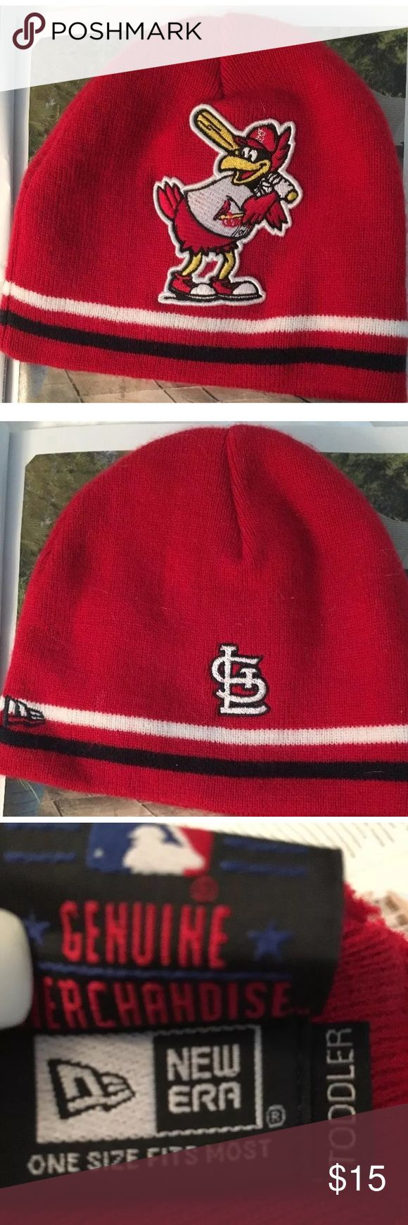 RARE! St. Louis Cardinals Toddler Hat! Mint Cond New Era. RARE! St. Louis Cardinals Toddler Hat. It's a Beanie Skull Cap style. In Cardinal RED with huge FRED BIRD Logo!  GENUINE Baseball MERCHANDISE. Triple Tags inside.  Never worn, stored in box. From 2011. Beautiful red with white & black racing stripes around bottom hem. Logo'd on front & BACK (see pics) with THREE appliqués!   Large whimsical appliqué on front. Adorable. From a smoke free home. New Era Accessories Hats
