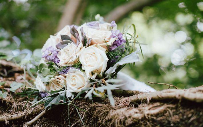 Télécharger fonds d'écran bouquet de mariage, de roses blanches, bouquet de mariée, bouquet de roses, de belles fleurs, mariage