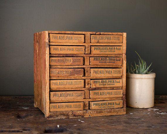 Vintage Home Decor / 1930's / Primitive Folk Art Supply Box / Wooden Cheese Box Storage Cabinet / Desk Organization Pull Drawer