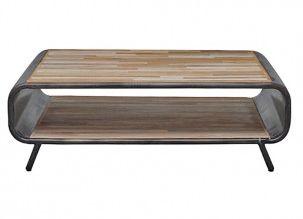 Deze licht ovale salontafel Brandy is een lust voor het oog! Hij is gemaakt van vintage gekleurd mangohout met een metalen omlijsting.  Afmeting: 35x70x110cm (hxbxd)